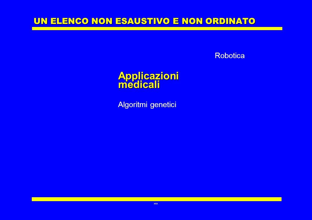 xxx UN ELENCO NON ESAUSTIVO E NON ORDINATO Applicazioni medicali Algoritmi genetici Robotica