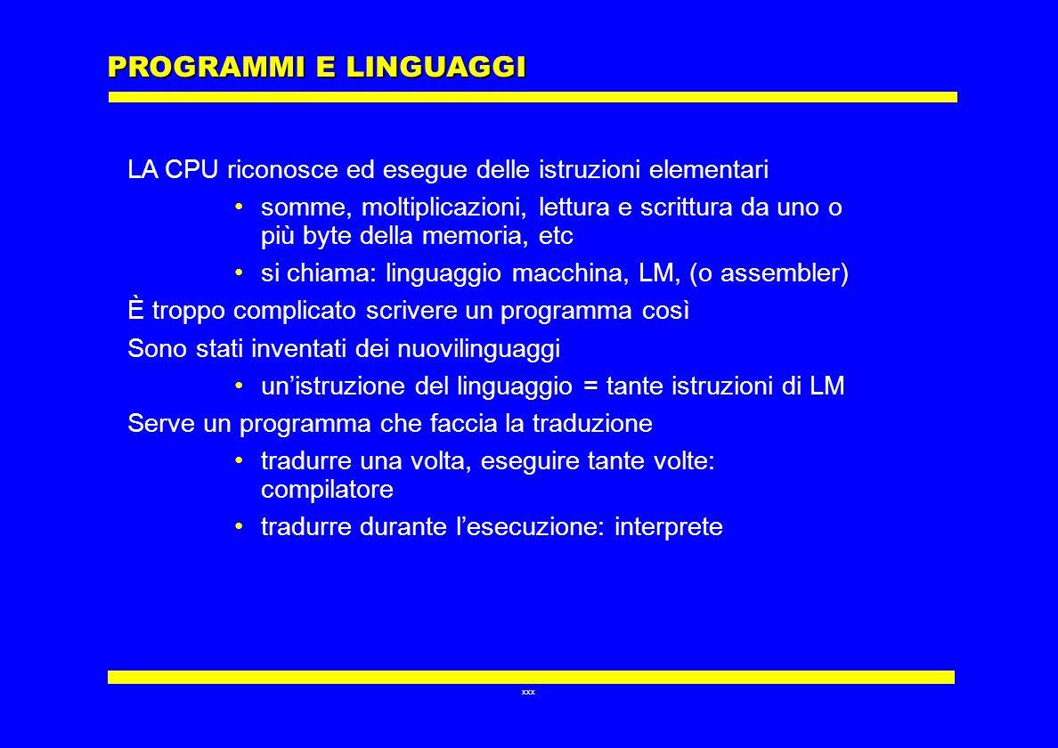 xxx PROGRAMMI E LINGUAGGI LA CPU riconosce ed esegue delle istruzioni elementari somme, moltiplicazioni, lettura e scrittura da uno o più byte della m