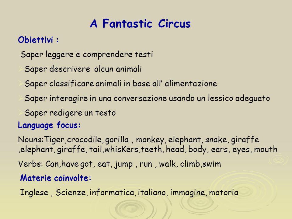 A Fantastic Circus Obiettivi : Saper leggere e comprendere testi Saper descrivere alcun animali Saper classificare animali in base all alimentazione S