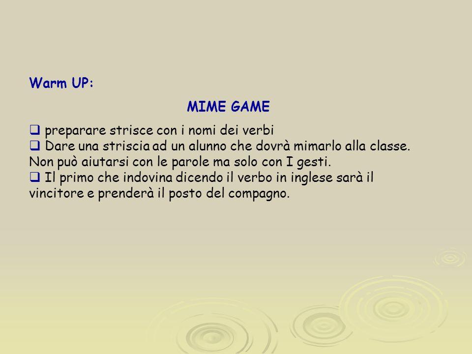 Warm UP: MIME GAME preparare strisce con i nomi dei verbi Dare una striscia ad un alunno che dovrà mimarlo alla classe. Non può aiutarsi con le parole