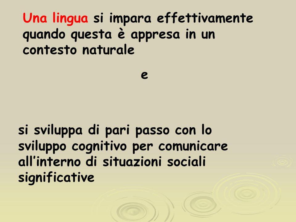 Una lingua si impara effettivamente quando questa è appresa in un contesto naturale e si sviluppa di pari passo con lo sviluppo cognitivo per comunicare allinterno di situazioni sociali significative