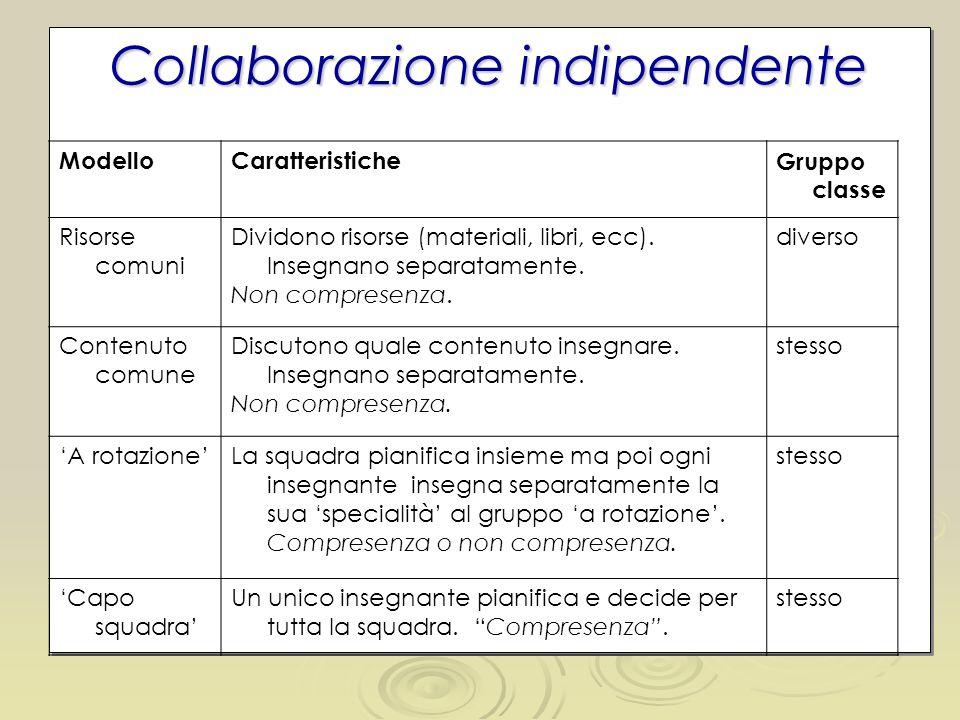 Collaborazione indipendente ModelloCaratteristiche Gruppo classe Risorse comuni Dividono risorse (materiali, libri, ecc). Insegnano separatamente. Non