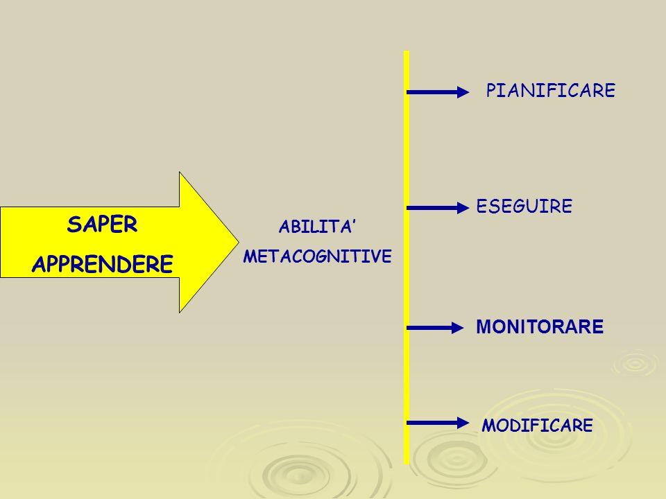 SAPER APPRENDERE ABILITA METACOGNITIVE PIANIFICARE ESEGUIRE MONITORARE MODIFICARE