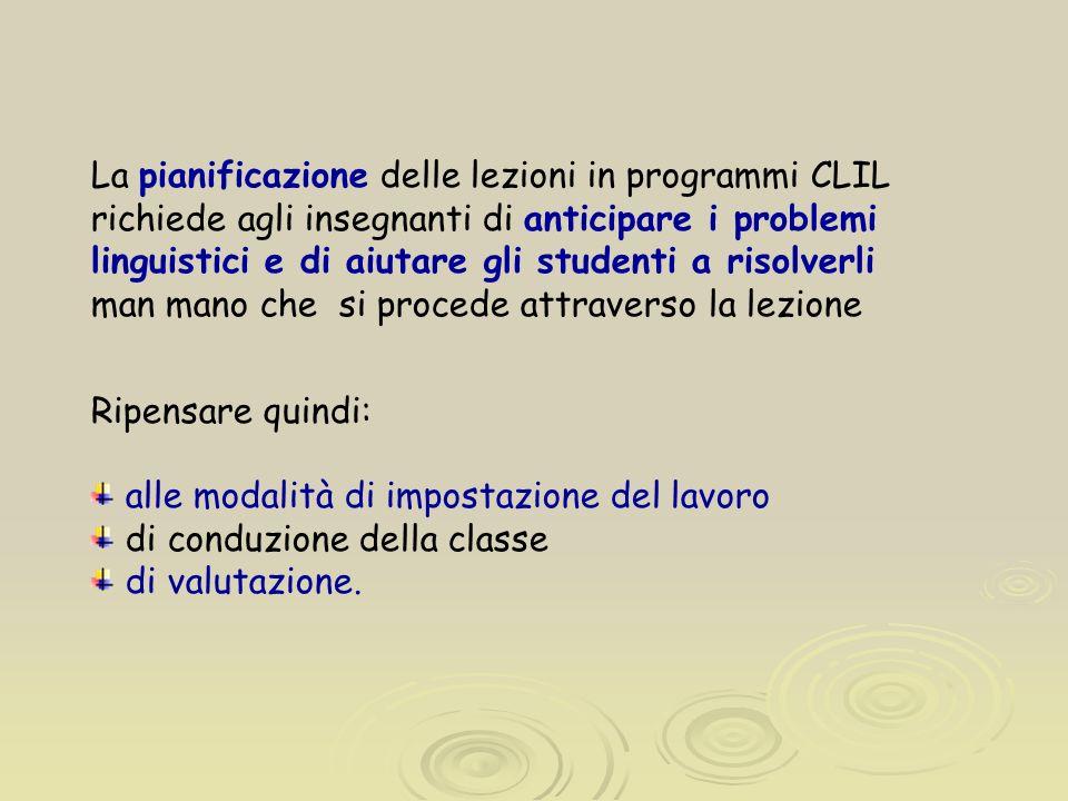 La pianificazione delle lezioni in programmi CLIL richiede agli insegnanti di anticipare i problemi linguistici e di aiutare gli studenti a risolverli