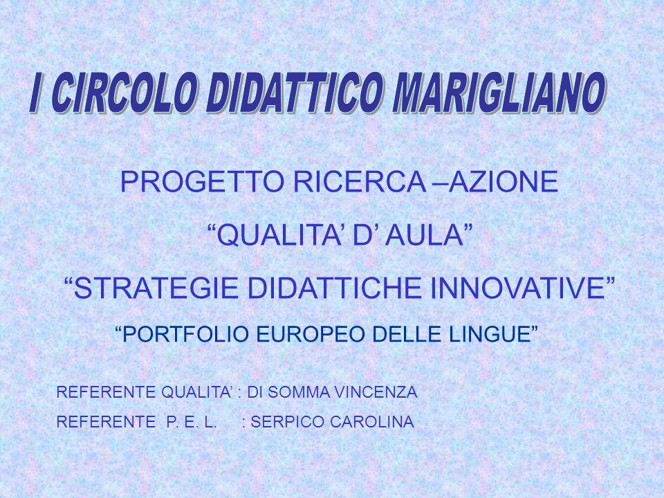 PROGETTO RICERCA –AZIONE QUALITA D AULA STRATEGIE DIDATTICHE INNOVATIVE REFERENTE QUALITA : DI SOMMA VINCENZA REFERENTE P.