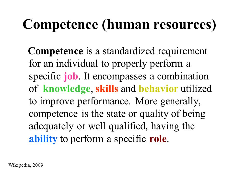 PROFESSIONAL COMPETENCE The four general areas of competence are: Meaning Competence : You must be able to identify with the purpose of the organization or community and act from the preferred future in accordance with the values of the organization or community.