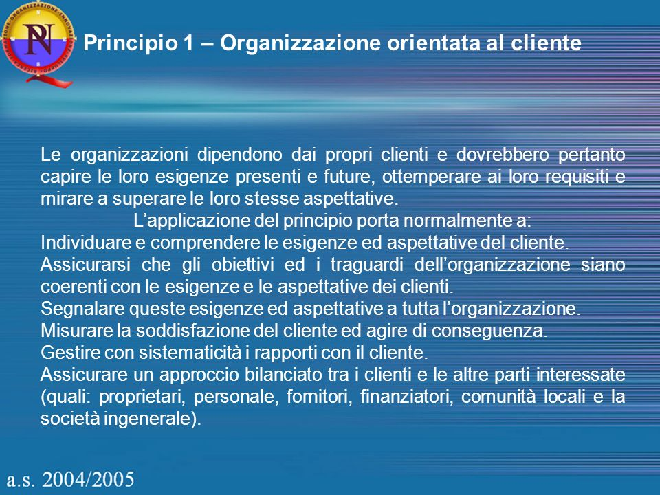 Principio 1 – Organizzazione orientata al cliente Le organizzazioni dipendono dai propri clienti e dovrebbero pertanto capire le loro esigenze present