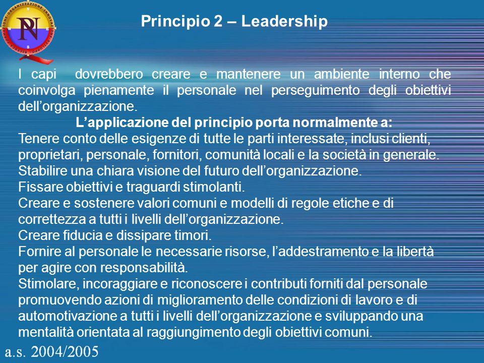 Principio 2 – Leadership I capi dovrebbero creare e mantenere un ambiente interno che coinvolga pienamente il personale nel perseguimento degli obiett