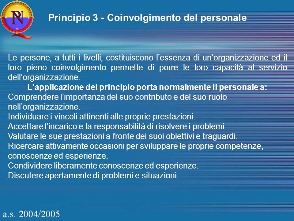 Principio 3 - Coinvolgimento del personale Le persone, a tutti i livelli, costituiscono lessenza di unorganizzazione ed il loro pieno coinvolgimento p