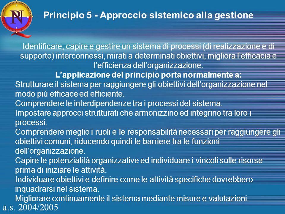 Principio 5 - Approccio sistemico alla gestione Identificare, capire e gestire un sistema di processi (di realizzazione e di supporto) interconnessi,