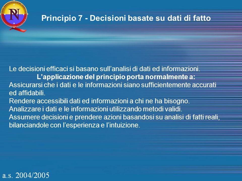 Principio 7 - Decisioni basate su dati di fatto Le decisioni efficaci si basano sullanalisi di dati ed informazioni. Lapplicazione del principio porta
