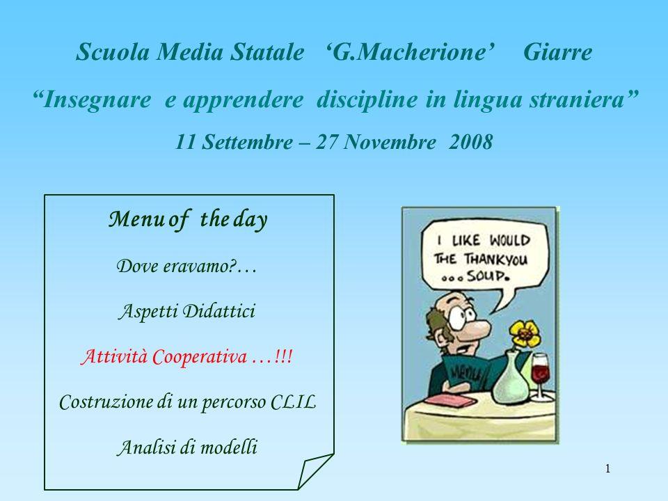 1 Scuola Media Statale G.Macherione Giarre Insegnare e apprendere discipline in lingua straniera 11 Settembre – 27 Novembre 2008 Menu of the day Dove