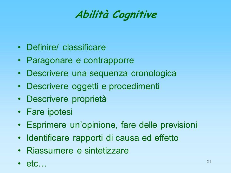 21 Abilità Cognitive Definire/ classificare Paragonare e contrapporre Descrivere una sequenza cronologica Descrivere oggetti e procedimenti Descrivere