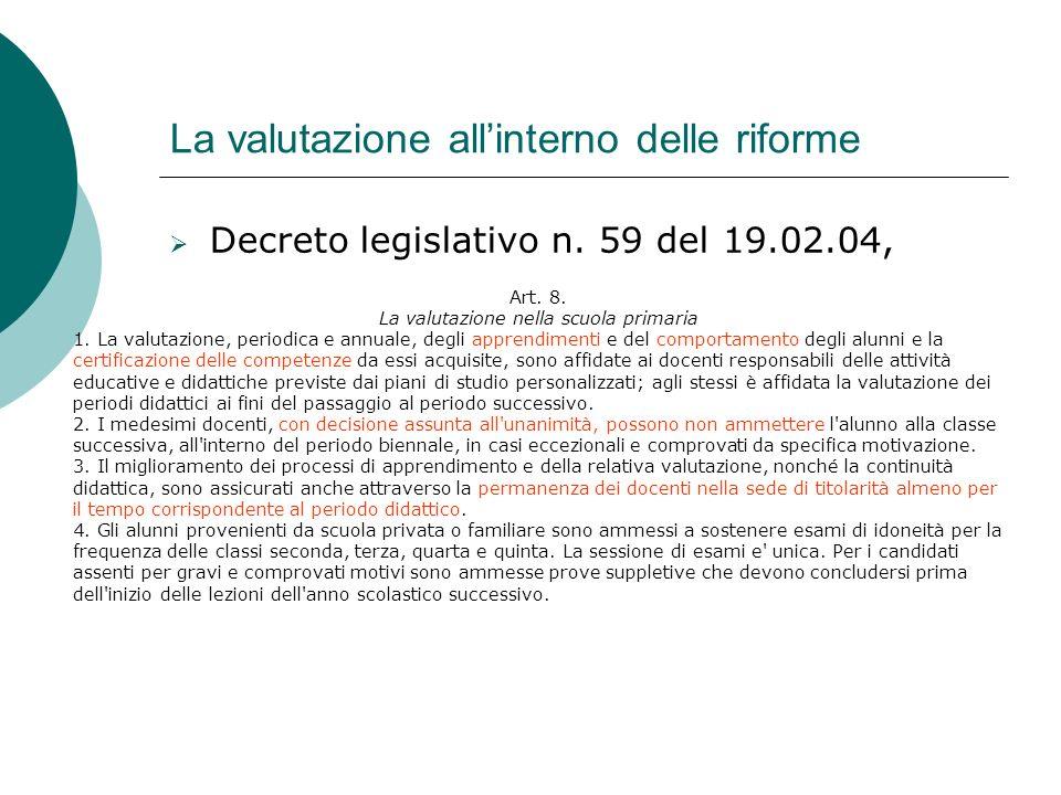 La valutazione allinterno delle riforme Decreto legislativo n. 59 del 19.02.04, Art. 8. La valutazione nella scuola primaria 1. La valutazione, period
