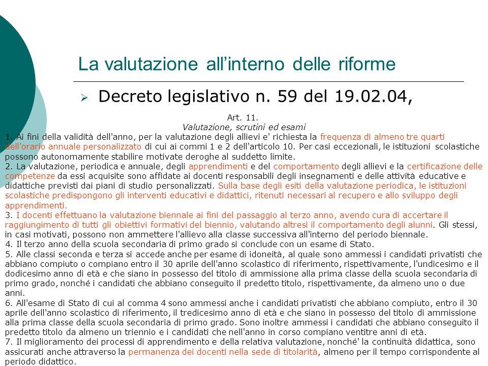 La valutazione allinterno delle riforme Decreto legislativo n. 59 del 19.02.04, Art. 11. Valutazione, scrutini ed esami 1. Ai fini della validità dell