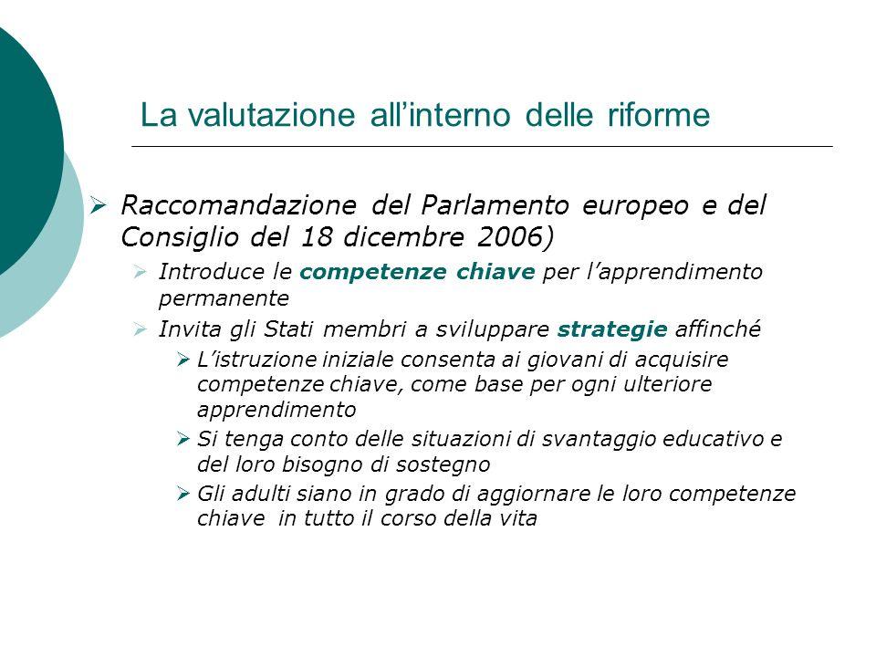 La valutazione allinterno delle riforme Raccomandazione del Parlamento europeo e del Consiglio del 18 dicembre 2006) Introduce le competenze chiave pe