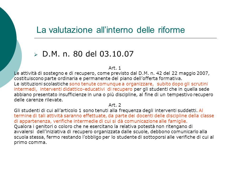 La valutazione allinterno delle riforme D.M. n. 80 del 03.10.07 Art. 1 Le attività di sostegno e di recupero, come previsto dal D.M. n. 42 del 22 magg