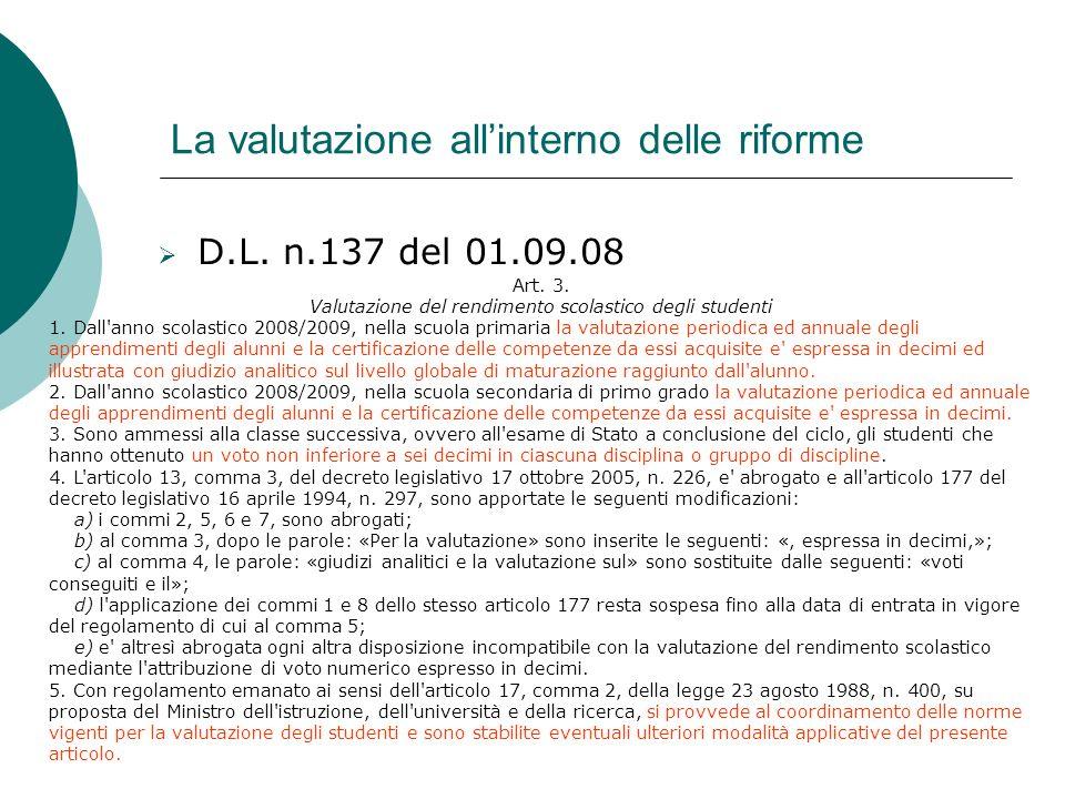 La valutazione allinterno delle riforme D.L. n.137 del 01.09.08 Art. 3. Valutazione del rendimento scolastico degli studenti 1. Dall'anno scolastico 2