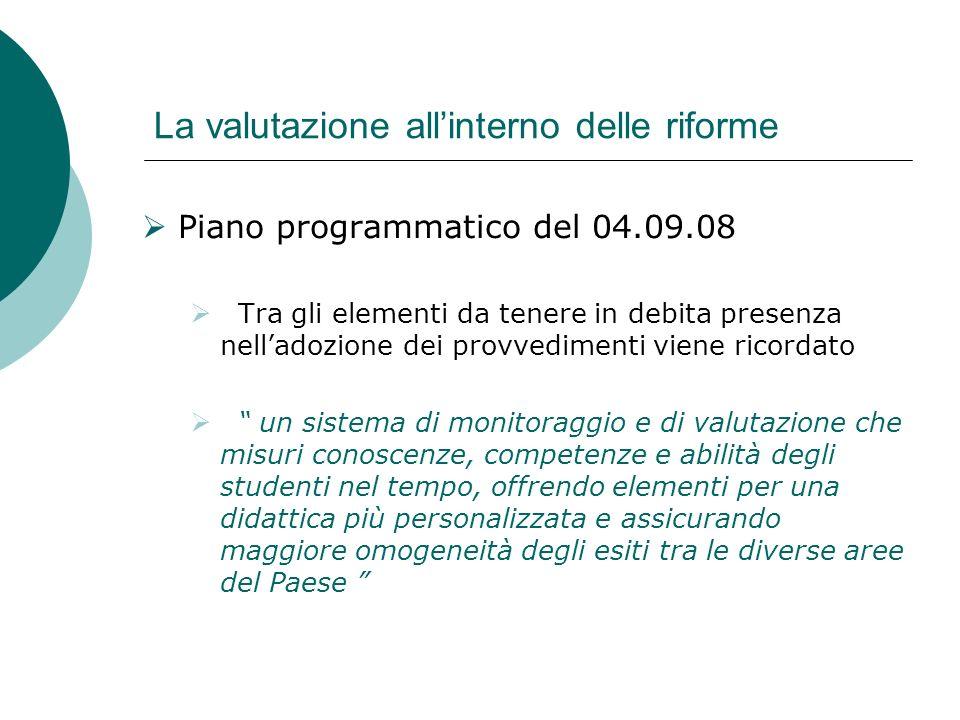 La valutazione allinterno delle riforme Piano programmatico del 04.09.08 Tra gli elementi da tenere in debita presenza nelladozione dei provvedimenti