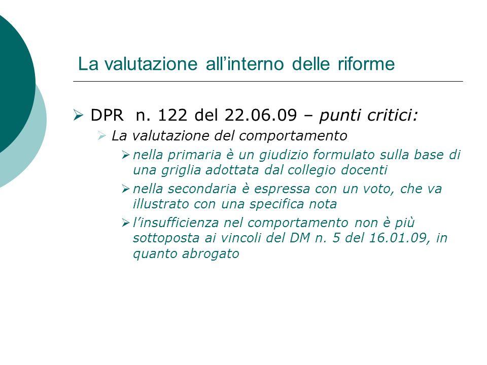 La valutazione allinterno delle riforme DPR n. 122 del 22.06.09 – punti critici: La valutazione del comportamento nella primaria è un giudizio formula