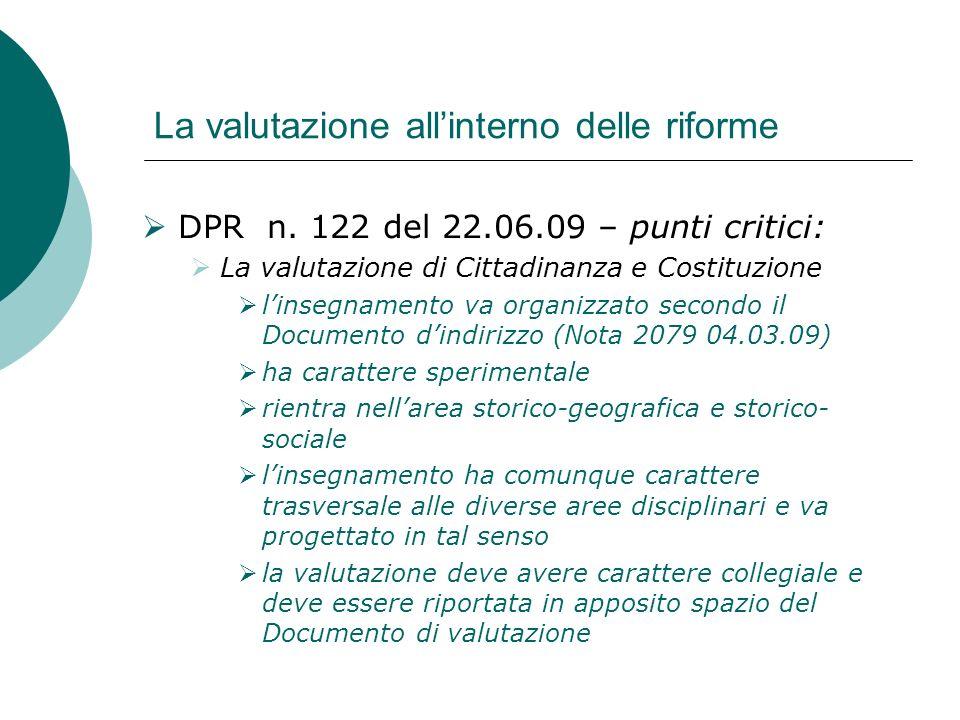 La valutazione allinterno delle riforme DPR n. 122 del 22.06.09 – punti critici: La valutazione di Cittadinanza e Costituzione linsegnamento va organi
