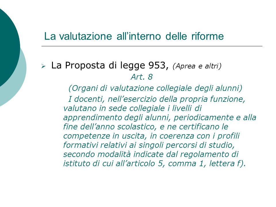 La valutazione allinterno delle riforme La Proposta di legge 953, (Aprea e altri) Art. 8 (Organi di valutazione collegiale degli alunni) I docenti, ne
