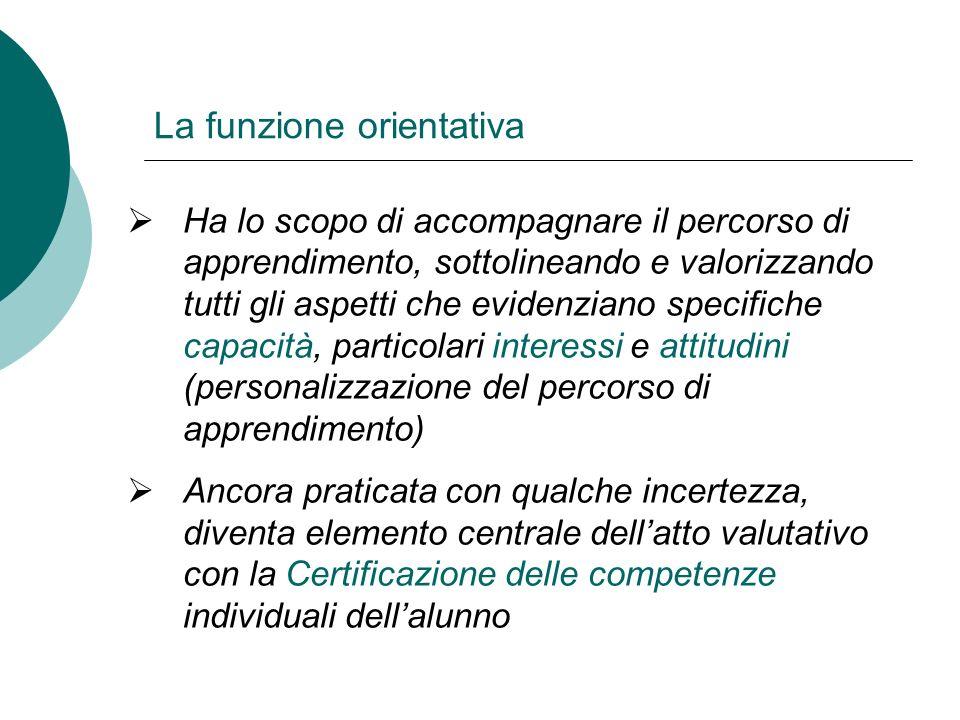 La funzione orientativa Ha lo scopo di accompagnare il percorso di apprendimento, sottolineando e valorizzando tutti gli aspetti che evidenziano speci