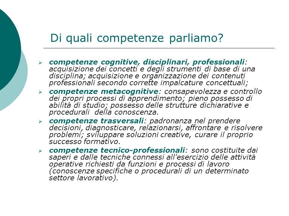 Di quali competenze parliamo? competenze cognitive, disciplinari, professionali: acquisizione dei concetti e degli strumenti di base di una disciplina