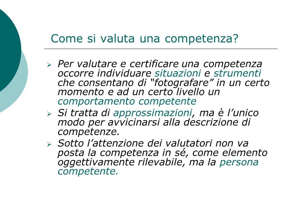 Come si valuta una competenza? Per valutare e certificare una competenza occorre individuare situazioni e strumenti che consentano di fotografare in u