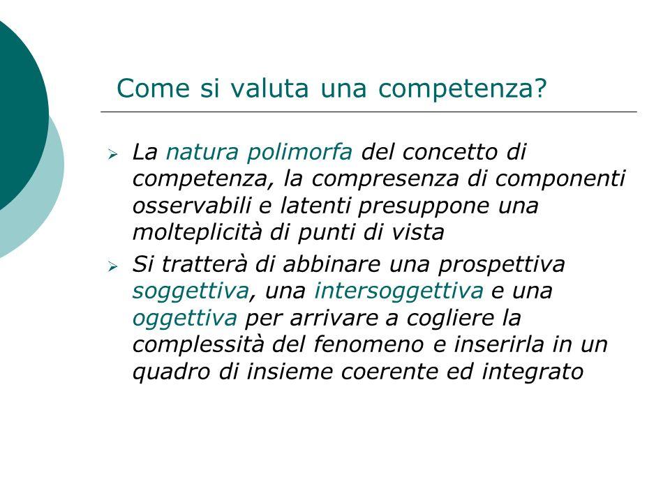 Come si valuta una competenza? La natura polimorfa del concetto di competenza, la compresenza di componenti osservabili e latenti presuppone una molte