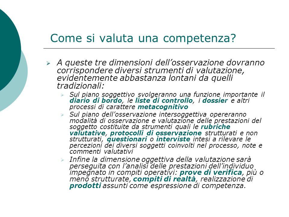Come si valuta una competenza? A queste tre dimensioni dellosservazione dovranno corrispondere diversi strumenti di valutazione, evidentemente abbasta