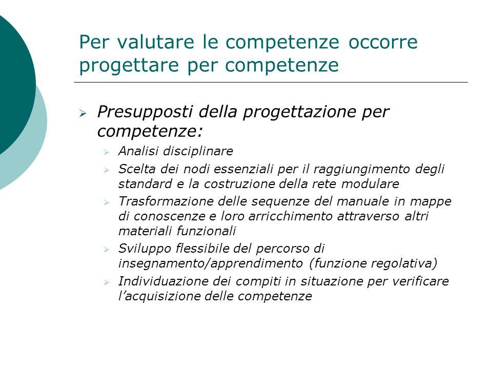 Per valutare le competenze occorre progettare per competenze Presupposti della progettazione per competenze: Analisi disciplinare Scelta dei nodi esse