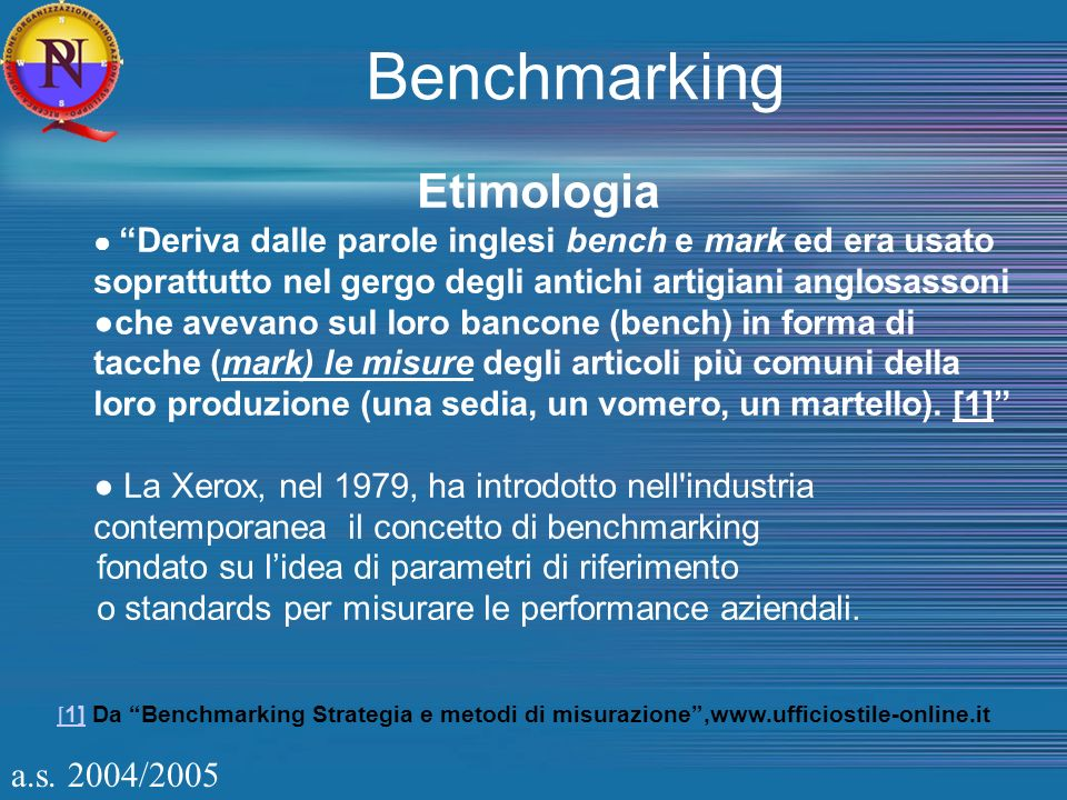 a.s. 2004/2005 Etimologia Deriva dalle parole inglesi bench e mark ed era usato soprattutto nel gergo degli antichi artigiani anglosassoni che avevano