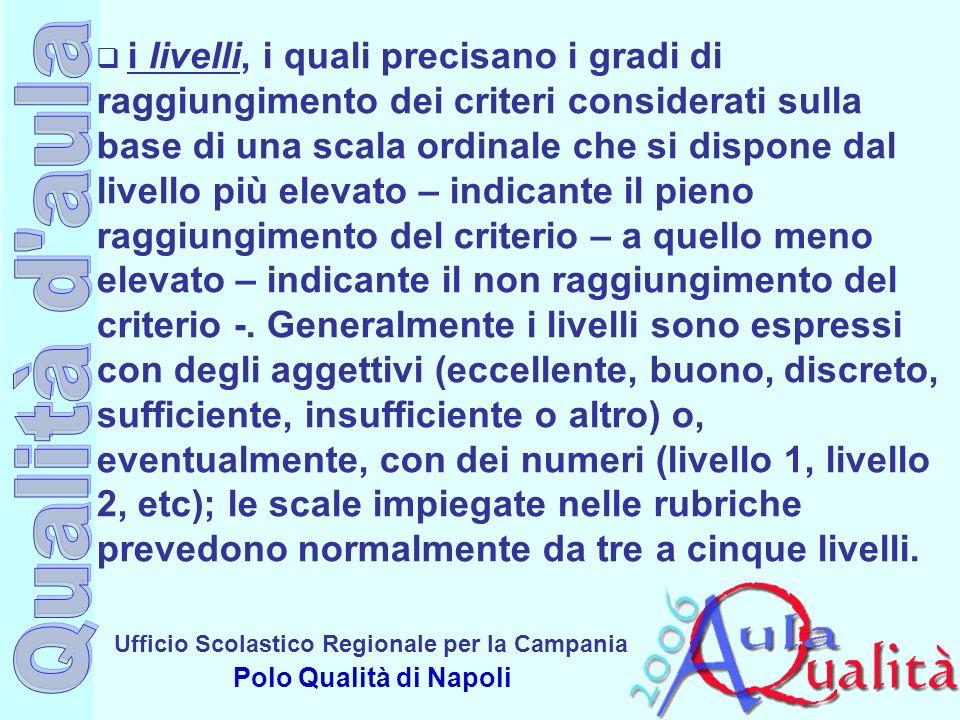 Ufficio Scolastico Regionale per la Campania Polo Qualità di Napoli i livelli, i quali precisano i gradi di raggiungimento dei criteri considerati sul