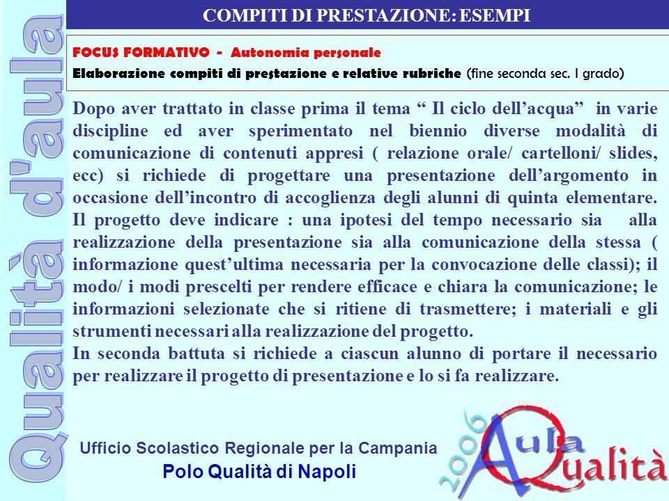 Ufficio Scolastico Regionale per la Campania Polo Qualità di Napoli Dopo aver trattato in classe prima il tema Il ciclo dellacqua in varie discipline