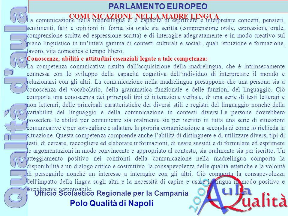 Ufficio Scolastico Regionale per la Campania Polo Qualità di Napoli La comunicazione nella madrelingua è la capacità di esprimere e interpretare conce