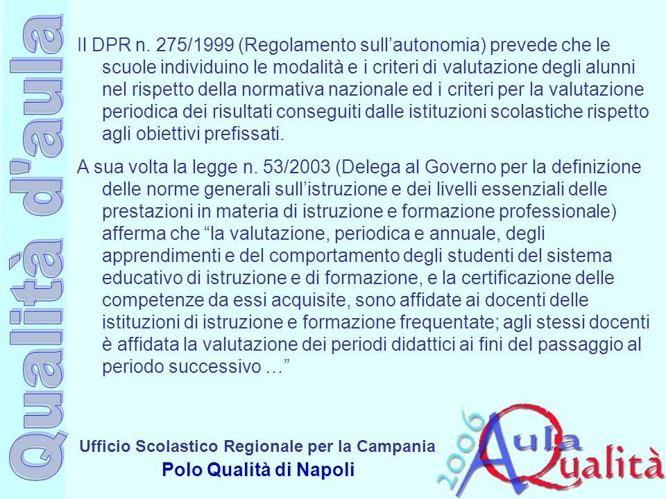 Ufficio Scolastico Regionale per la Campania Polo Qualità di Napoli Il DPR n. 275/1999 (Regolamento sullautonomia) prevede che le scuole individuino l