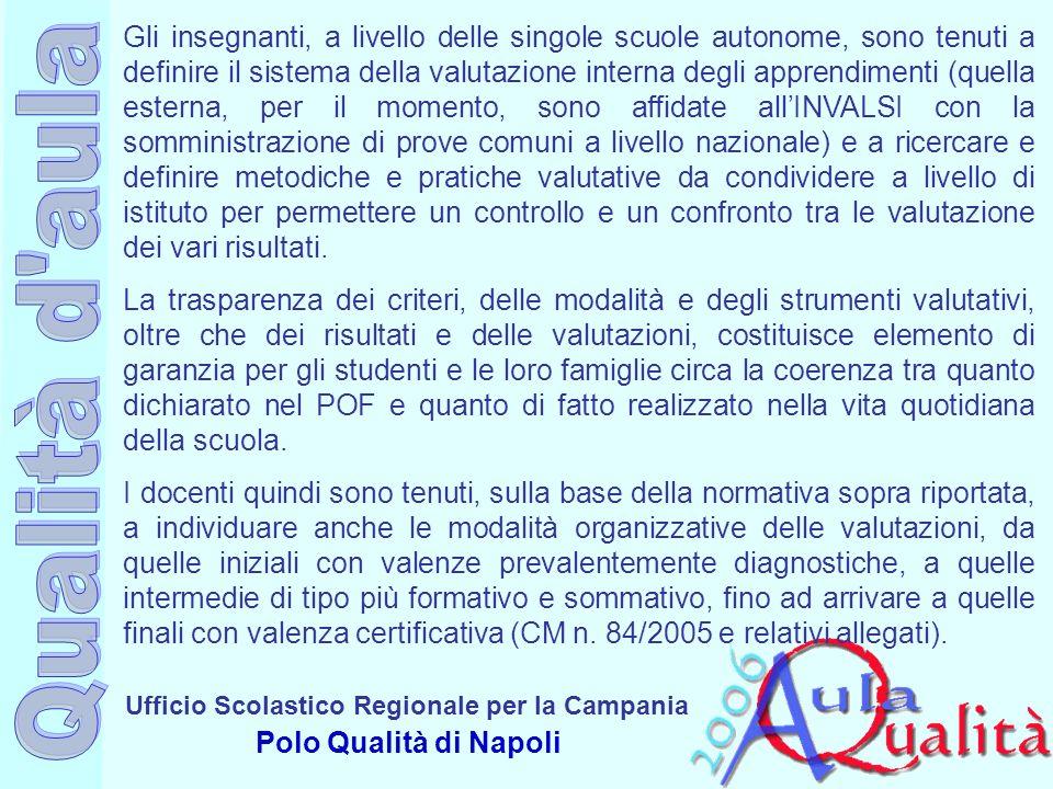 Ufficio Scolastico Regionale per la Campania Polo Qualità di Napoli Gli insegnanti, a livello delle singole scuole autonome, sono tenuti a definire il