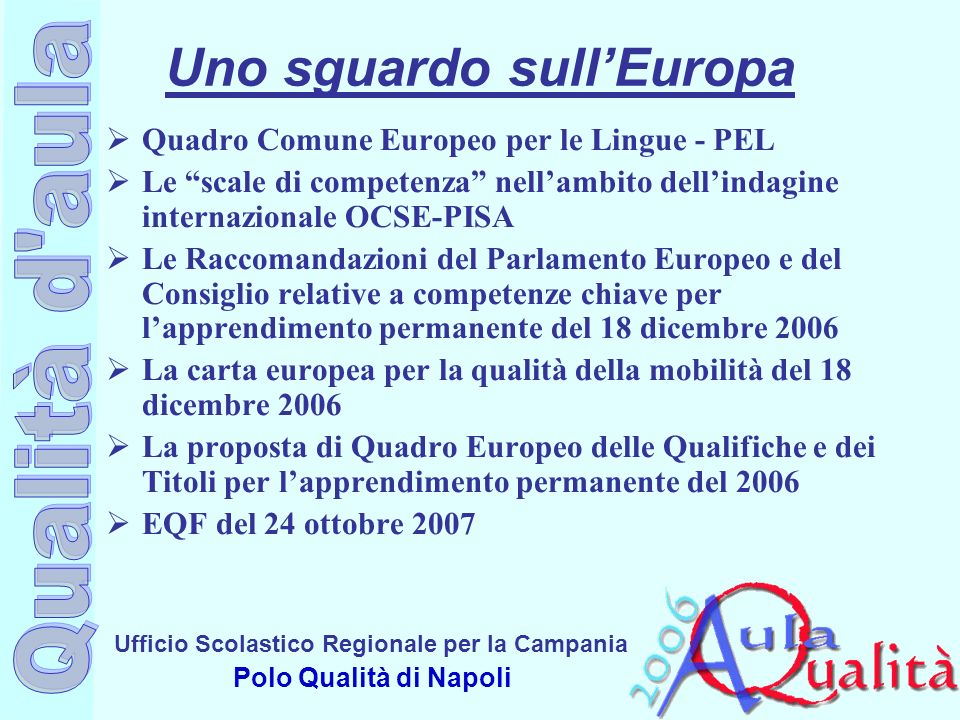 Ufficio Scolastico Regionale per la Campania Polo Qualità di Napoli Uno sguardo sullEuropa Quadro Comune Europeo per le Lingue - PEL Le scale di compe