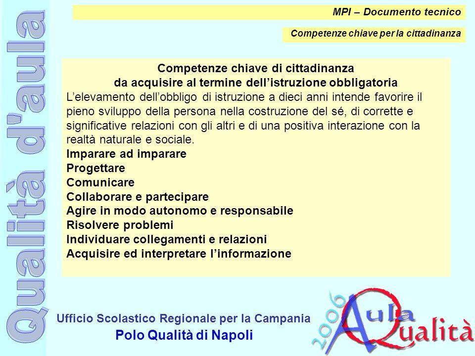 Ufficio Scolastico Regionale per la Campania Polo Qualità di Napoli MPI – Documento tecnico Competenze chiave per la cittadinanza Competenze chiave di