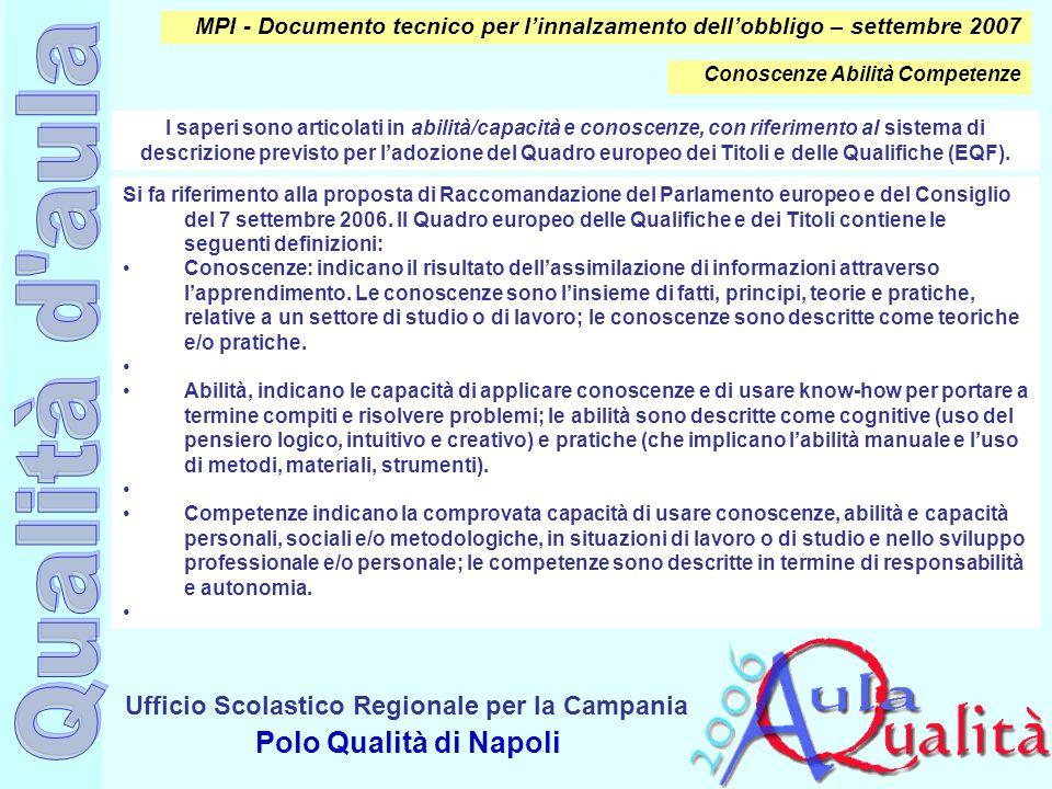 Ufficio Scolastico Regionale per la Campania Polo Qualità di Napoli Si fa riferimento alla proposta di Raccomandazione del Parlamento europeo e del Co