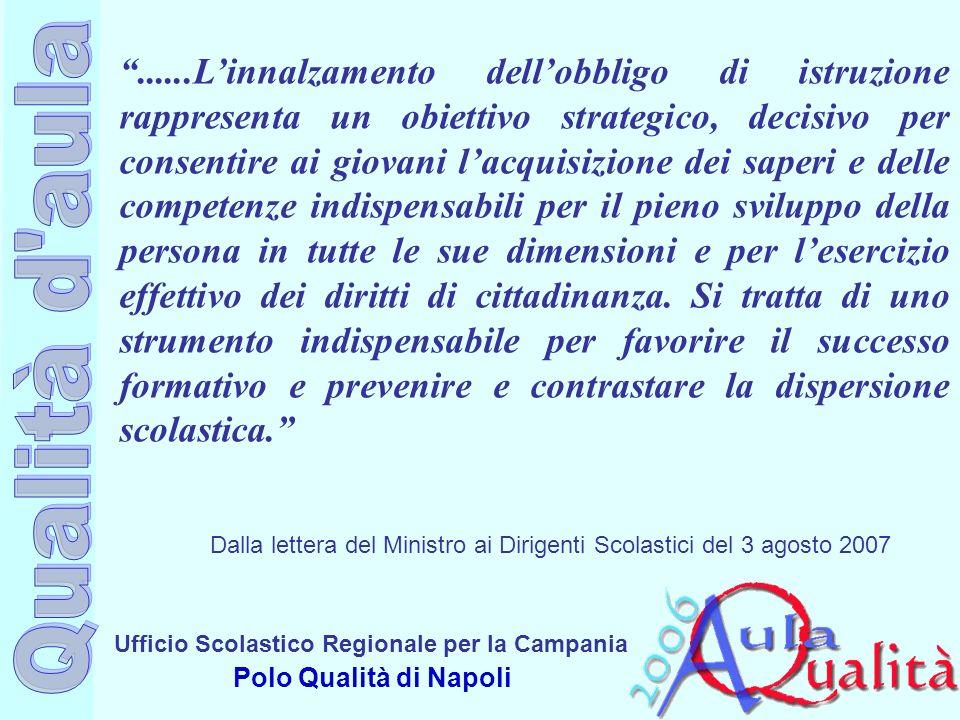 Ufficio Scolastico Regionale per la Campania Polo Qualità di Napoli......Linnalzamento dellobbligo di istruzione rappresenta un obiettivo strategico,
