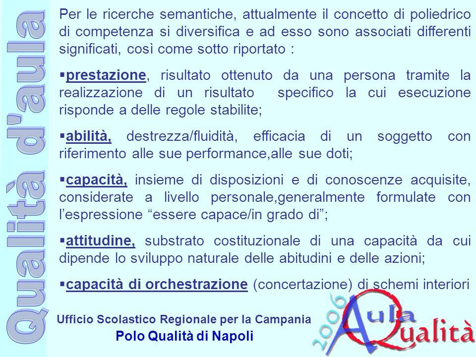 Ufficio Scolastico Regionale per la Campania Polo Qualità di Napoli Per le ricerche semantiche, attualmente il concetto di poliedrico di competenza si