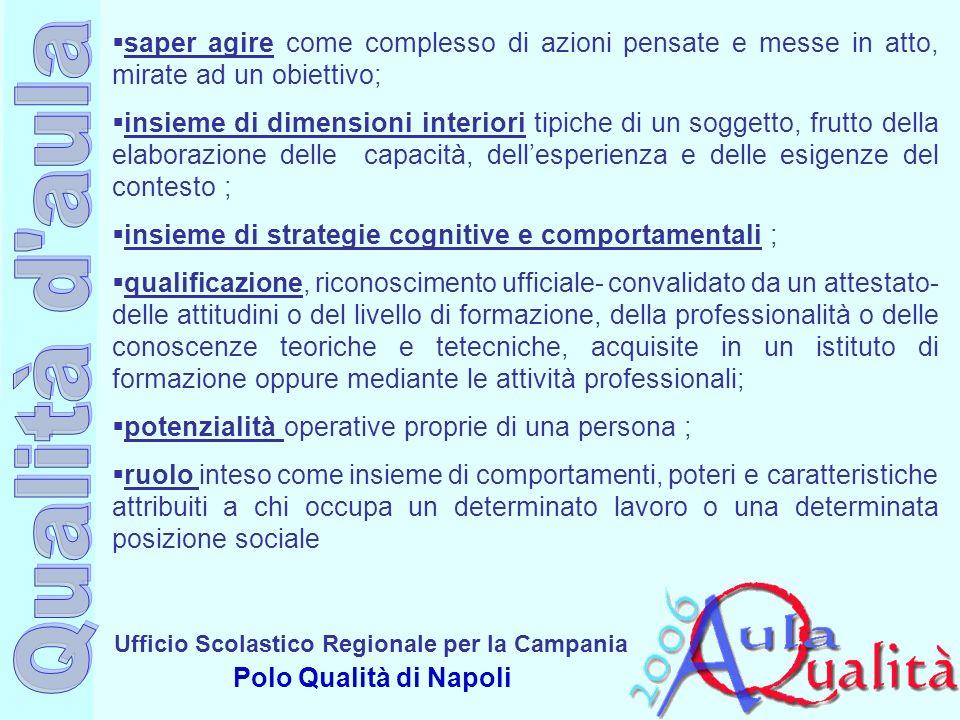 Ufficio Scolastico Regionale per la Campania Polo Qualità di Napoli saper agire come complesso di azioni pensate e messe in atto, mirate ad un obietti