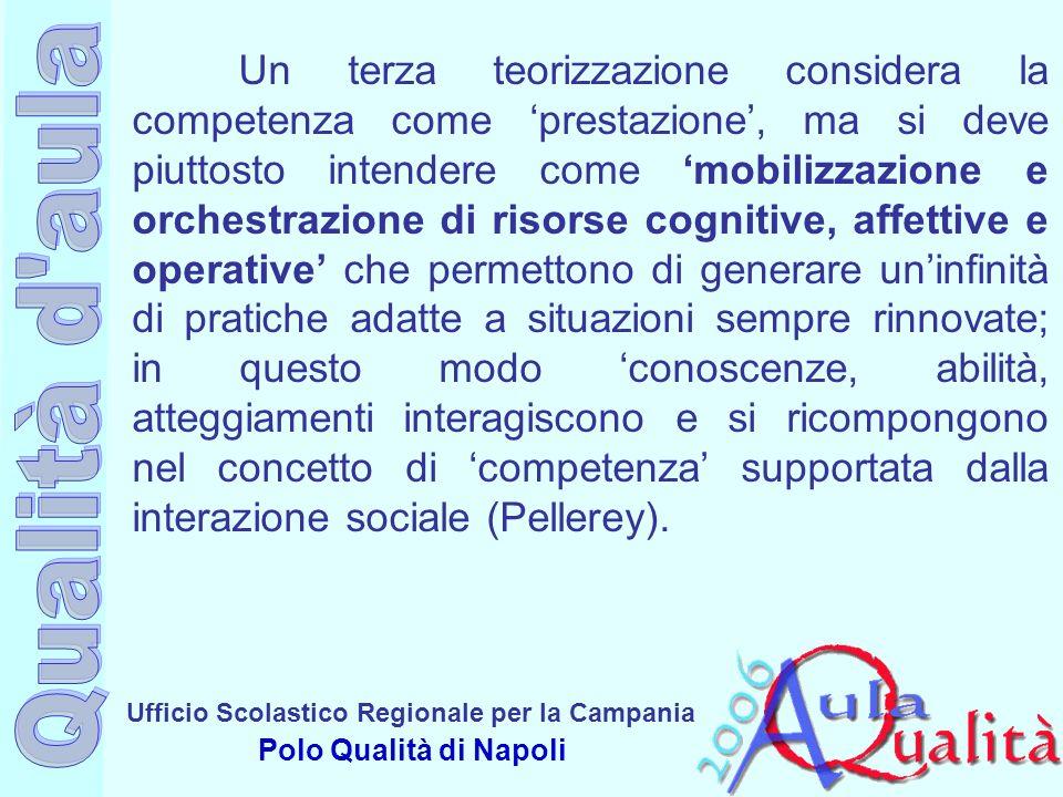 Ufficio Scolastico Regionale per la Campania Polo Qualità di Napoli Un terza teorizzazione considera la competenza come prestazione, ma si deve piutto