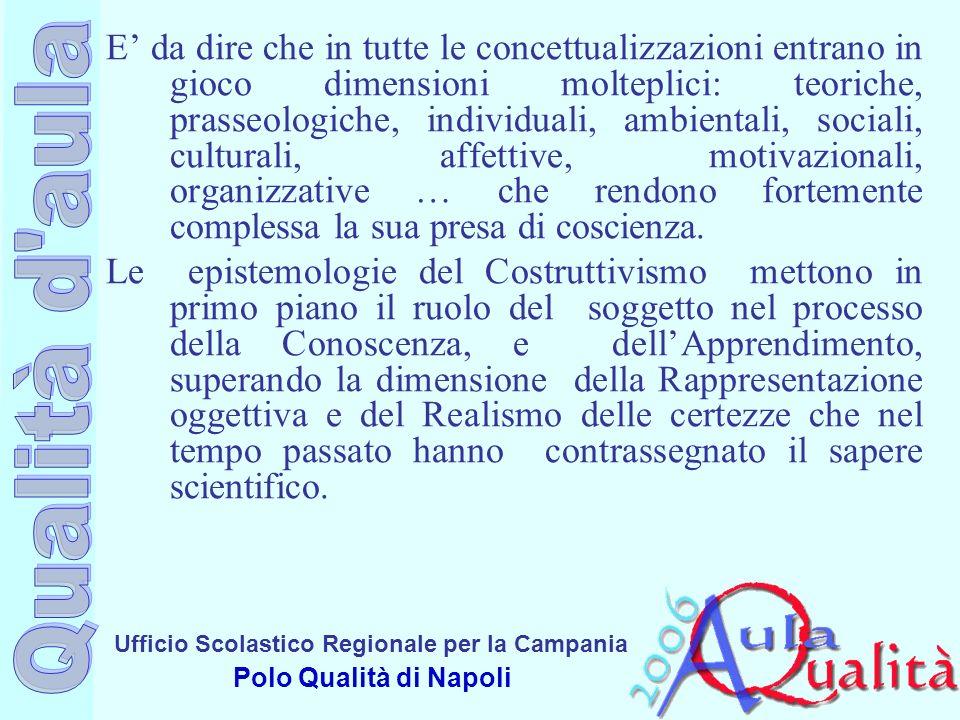 Ufficio Scolastico Regionale per la Campania Polo Qualità di Napoli E da dire che in tutte le concettualizzazioni entrano in gioco dimensioni moltepli