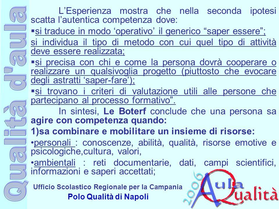 Ufficio Scolastico Regionale per la Campania Polo Qualità di Napoli LEsperienza mostra che nella seconda ipotesi scatta lautentica competenza dove: si