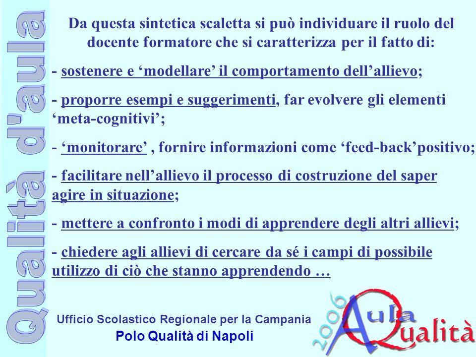 Ufficio Scolastico Regionale per la Campania Polo Qualità di Napoli Da questa sintetica scaletta si può individuare il ruolo del docente formatore che