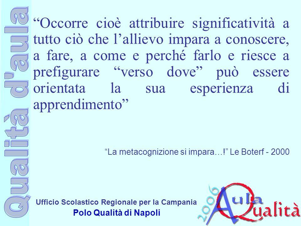 Ufficio Scolastico Regionale per la Campania Polo Qualità di Napoli Occorre cioè attribuire significatività a tutto ciò che lallievo impara a conoscer