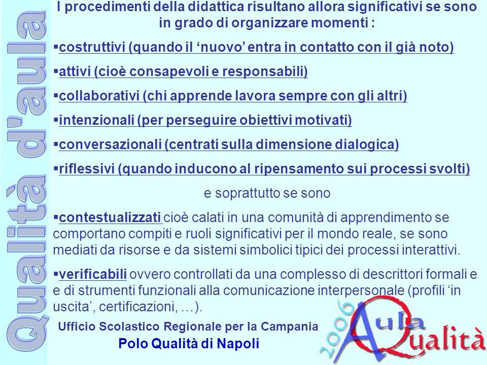 Ufficio Scolastico Regionale per la Campania Polo Qualità di Napoli I procedimenti della didattica risultano allora significativi se sono in grado di